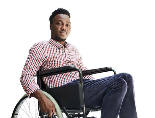 Man in wheelchair, smiling